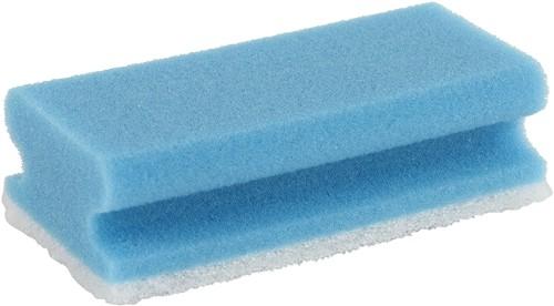 Schuurspons handgreep blauw/wit