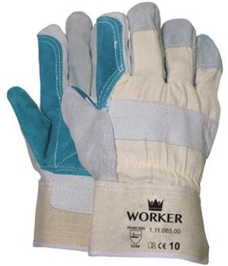 Splitlederen handschoen met groene pistoolversterking 12pr