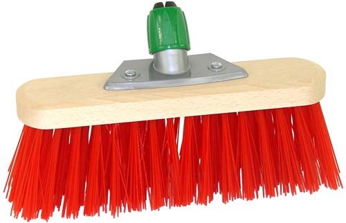 Straatbezem Rood 30cm met steelhouder