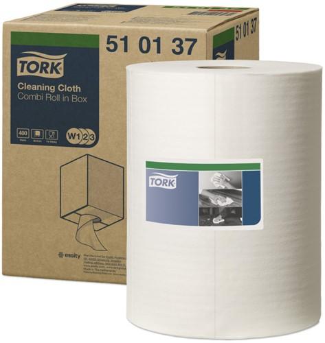 Tork Werkdoek Premium 510 wit 400 vellen (W1/2/3)
