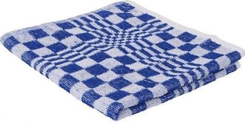 Handdoeken blok geruit blauw 50x50 (10st.)