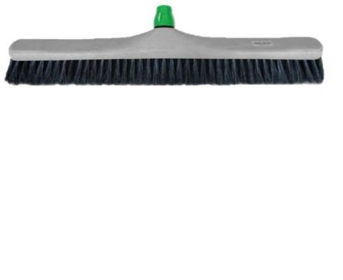 Zaalbezem kunststof gemengd haar 60cm incl. steelhouder