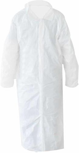 Bezoekersjas non woven wit met klitteband XL (50st.)