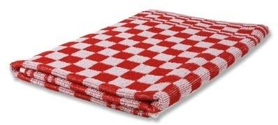 Handdoeken blok geruit rood 50x50 (10st.)