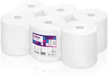 Satino Prestige Handdoekrol Cellulose 2-lgs wit 6x116Mtr.